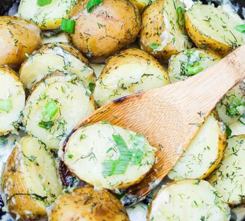 Молодой картофель с укропом в сливочном соусе