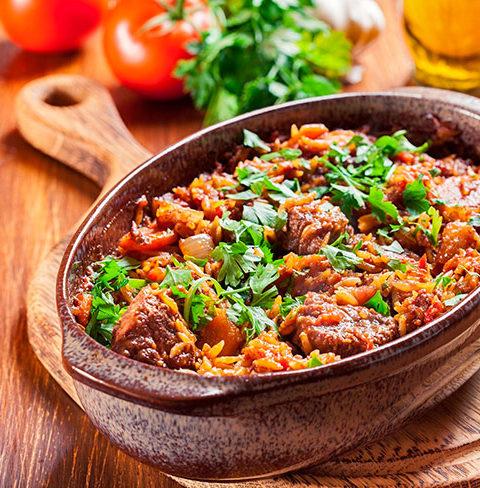 Юветси (гюветси) - тушеное мясо с пастой орзо